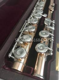 Flautas de oro online-Muramatsu New Gold Lacquer Flute 16 Llaves Agujeros cerrados Split E Flauta Instrumento musical de alta calidad con estuche