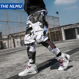 2019 cravate étiquettes en gros Mode Harajuku Camouflage Joggings Hommes Hip Hop multi poches élastiques taille Sarouel Streetwear Hommes 2018 Pantalon WJ109