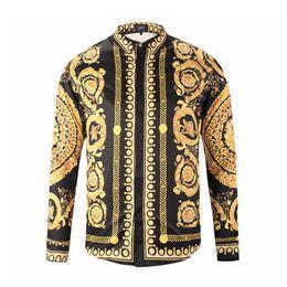 Einzelne blütenhülsen online-Luxus Männer Blume Kleid Hemd Gedruckt 3D Hemd Slim Fit Männliche Langarmshirts Chemise Homme