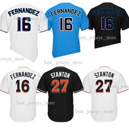 Jerseys de béisbol de Miami Marlins 16 Jose Fernandez 27 Stanton Hot Sale Jersey 18/19 Nueva camisa 100% cosida desde fabricantes