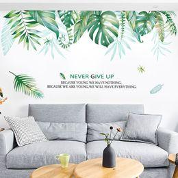 Зеленые листья онлайн-Большие 96 * 175 см наклейки на стены для детских спален свежий большой зеленый лист гостиной ins фон Home Decor wall art pictures wallpaper