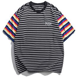 farbblock t-shirts Rabatt Farbe Block Striped T-shirts Männlichen 2019 Ankunft Sommer T-shirt Hip Hop Kurzarm Baumwolle Lässige Streetwear Tops Tees