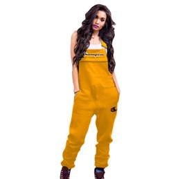 2019 calça de moda em geral 2019 Marca Mulheres Bordados Campeões Cartas Macacão Calças Suspender Casuais Moda Macacão Sem Mangas Romper Brace Calças S-2xl A3202 calça de moda em geral barato