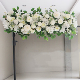 couronnes de vigne en gros Promotion Haut de gamme artificielle Soie Pivoines Rose Fleur Rangée Arrangement Fournitures pour L'arc De Mariage Toile de Fond Centres de Bricolage Fournitures