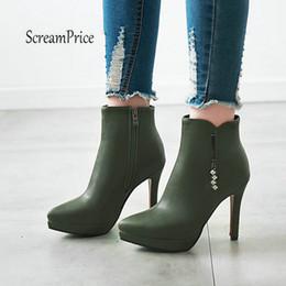 2019 botines marrones sexy Botas de tobillo de mujer Sexy Thin High Heel Fashion Boots Zip de cuero de la punta del dedo del pie puntiagudo zapatos de las señoras Negro Marrón Gris Verde botines marrones sexy baratos