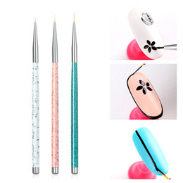 2019 rayas de uñas Nail Art Liner Brush 3 UNIDS Nail Drawing Stripes Dotting Brushes Set Manicure Nails Brush Pen Nail Art Tool TTA550 rebajas rayas de uñas