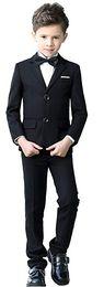 smoking negro de la pajarita de la marina de guerra Rebajas Black Gray Navy Boys se adapta a los niños de la boda Blazer Suit for Boy Costume Enfant Marriage Boy Tuxedo 5 piezas (chaqueta + pantalón + chaleco + camisa + pajarita)
