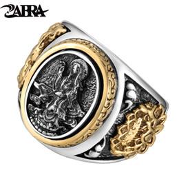 Dragões de prata esterlina on-line-Zabra Do Vintage Budismo Deusa 925 Dragão de Prata Masculino Anel de Ouro Retro Preto Masculino Anel de Prata Sterling Motociclista Homem Anéis Jóias SH190716