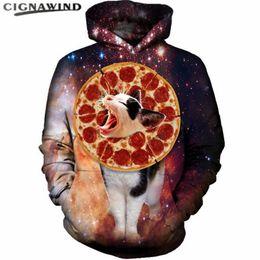 2019 hoodie de pizza Nova Moda Engraçado Pizza Gato Hoodies Menwomen Com Capuz Digital 3D Impresso Espaço galaxy Sweater hip hop streetwear Pullover Tops hoodie de pizza barato