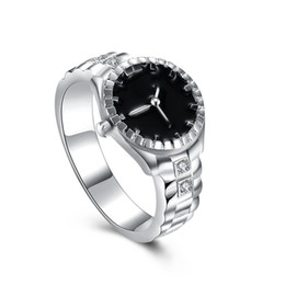 rang clock Coupons - Unique Designed Rings Silver Plated Imitation Clock Pattern S925 Silver Band Ring Fashionable Individuality Unisex Surprise Gifts POTALA887