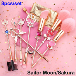 sailor moon set Coupons - Sailor Moon Makeup Brush 8pcs Sakura brushes Set Cute Magical Girl Rose Gold Cardcaptor Cosmetic Brush Pink Bag Face and Eye Beauty tool