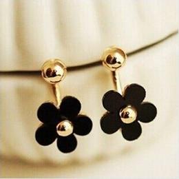 Wholesale Versione coreana palla dorata adorabile margherite fiore orecchini cinque patta posteriore appeso orecchini moda stella all ingrosso
