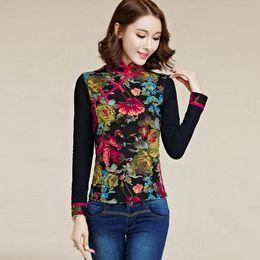 2020 más el tamaño de cuello de mandarina ropa Ropa tradicional china 2020 más el tamaño de la vendimia del collar del mandarín étnica de manga larga de impresión negro de la blusa blusa DF366 más el tamaño de cuello de mandarina ropa baratos