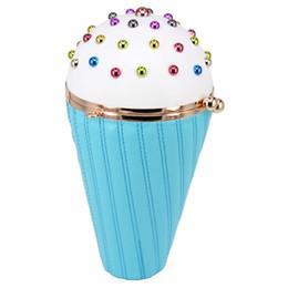 Borse blu prom online-Blue Ice Cream Catene a forma di borsa Bella Multicolor Rivet Fashion Pu Clutch Borsa da sera Lady Purse carattere prom Borsa a tracolla # 365247