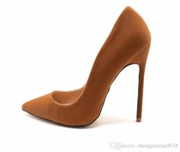 Canada outre-mer2020 femme dame en cuir suédé brun talon aiguille chaussures strass talon aiguille cheap brown pointed shoes Offre