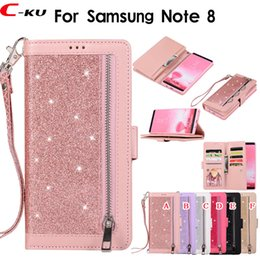 2019 galaxie notiz bling brieftasche fällen 9 Card Slot Multifunktions-Reißverschluss Bling Wallet Ledertasche für Samsung Galaxy Note 8 Note 9 S7 Edge S8 S9 Plus Luxus Sparkle Glitter Cover rabatt galaxie notiz bling brieftasche fällen