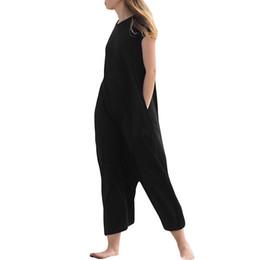 Commercio all'ingrosso 2019 Sexy Backless Lace-up Playsuits Pagliaccetti Tuta da donna Plus Size Casual pantaloni allentati Harem Vintage Tuta di cotone da