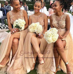 blush beaded bridesmaids dress Promo Codes - Blush Pink Split Long Bridesmaids Dresses 2019 Sheer Neck with Pearls beaded Maid of Honor gowns Appliques Lace Country Wedding Guest Cheap