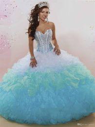 vestidos 15 cor coral Desconto Sem mangas Dois Tons Cor Vestido de Baile Vestidos Quinceanera com Babados em Camadas Saia Corset Top Doce 15 16 Quinceanera Vestido com Strass