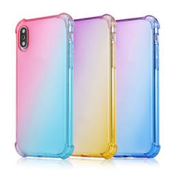 2019 caso suave do iphone do gradiente Gradiente de cor Soft Case Anti Choque Airbag Limpar Phone Cases para iPhone XR XS MAX 8 7plus para Samsung S10 S9 Nota 9 caso suave do iphone do gradiente barato