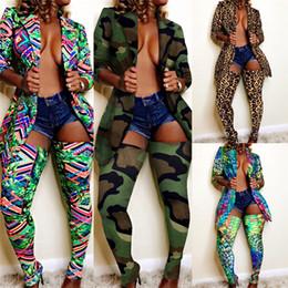 Collant verde online-Sexy Leopard 2PCS Womens Imposta Jacket risvolto collo maniche lunghe lunghe Calze Due collega gli insiemi di vestiti di modo femminile Club