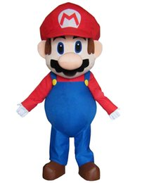 марио платья Скидка Adult Size Super Mario Mascot Costume Fancy Dress Lovely Brothers Suit for Halloween party event
