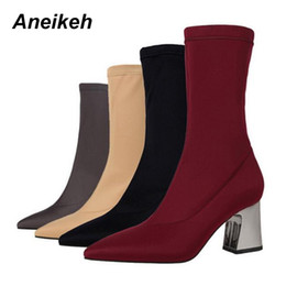 grey high heels shoes Coupons - Aneikeh NEW Women Boots Sexy Pointed Toe Lycra Elastic Female Mid Calf Boots Autumn Winter High Heels Short Boot Shoe