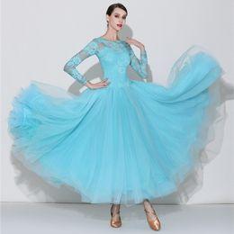 2019 dança trajes valsa 2019New Azul Rosa rendas de manga longa de Competição de Dança de Salão Vestido Mulheres Waltz Dress Standard Dança Moderna Trajes de Desempenho dança trajes valsa barato
