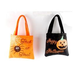 Impression de sacs de jute en Ligne-sacs Halloween non-tissé Sac de sucrerie de Halloween Sac de jute Sacs Kid sac-cadeau d'araignée citrouille Imprimé Organisateur Sac de célébration ZZA1261 100PCS