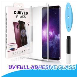 2019 iphone hochwertiges kameraobjektiv Neueste 3D-Curved Voll Kleber UV-Flüssig-ausgeglichenes Glas für Samsung S20 Ultra S10 S9 Plus-S10e Anmerkung 10 9 Full Adhesive Schirm-Schutz UV-Licht