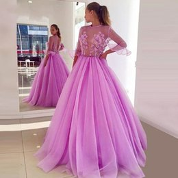 Cute Lilac 3d Floral Flowers Quinceanera Prom Dresses 2019 Cheap With Juliet Sleeves Tulle See Through Top Sweet 16 Dress Vestidos 15 Anos