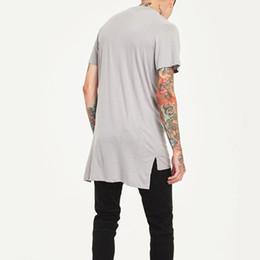 männer irreguläre hemden Rabatt Hip Hop Style Kleidung Herren Casual Long T Shirt Unregelmäßiger Saum Erweiterte Länge Tees Side Split Solid Black Streetwear Tops T Y19072501