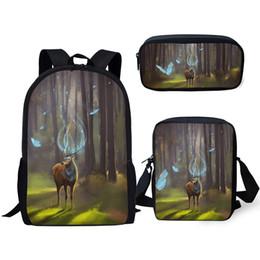 Pluma de fantasía online-ELVISWORDS Fashion Kids 3PC Set Mochila escolar Fantasy Deer Mochilas escolares Kawaii Animal Students Mochila / Messenger Bag / Pen Bags
