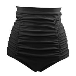 le mutande delle signore più i formati Sconti Costumi da bagno Donna Moda Vita alta Slip taglie forti Bikini Bottom Ladies Sexy Solid Beachwear a pieghe 2019