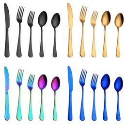 fork knife spoon high quality Coupons - Hot 5pcs set Rainbow Purple Dinnerware High Quality Stainless Steel Knife Fork Spoon Cutlery Kitchen Food Tableware Flatware Set