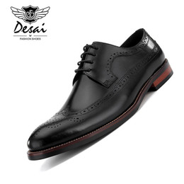 cusp shoes Promo Codes - DESAI Men's Brogue Leather Shoe Business Genuine Leather Dress Shoes Hand Carved Flower Cusp Head British Style Formal Shoes Men