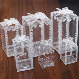 2021 scatole di mele caramelle all'ingrosso Commercio all'ingrosso 5 / 10pcs Lace Clear Box PVC imballaggio Wedding / Natale favore Torta al cioccolato Candy Apple regalo Evento trasparente scatola / caso