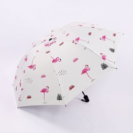 Rosa damen regenschirm online-Blue Pink Flamingo Umbrella Women Girls Fashion Folding Umbrellas Rain Sun Parasol Ladies Paraguas