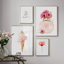 2019 impressões de flor de paris Paris Perfume Flower Ice Cream Wall Art Canvas Pintura em Aquarela nórdicos Posters and Prints Pictures Para Living Room Decor desconto impressões de flor de paris
