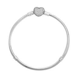 2019 fascino del cuore del braccialetto di fascino Autentici 925 sterling silver Moments Pave cuore chiusura con Crystal Pan braccialetto Bangle Fit Bead Charm gioielli fai da te Europa sconti fascino del cuore del braccialetto di fascino