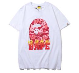 Рубашки для камуфляжа онлайн-2018 Мода Apes Camo Футболки Новый Круглый Воротник Футболка Купание Мужчины женский пламя Повседневная Свободные Короткие