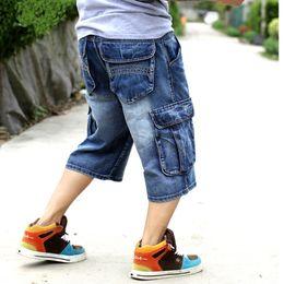 Hip hop baggy jeans kurz online-Herren Plus Size Lose Baggy Denim Short Herren Jeans Fashion Streetwear Hip Hop Lange 3/4 Capri Cargo Shorts Tasche Bermuda Männlich Blau MX190718