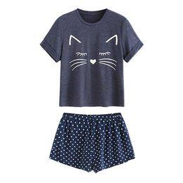 Pigiami di gatto online-Abbigliamento da notte Set donna Casual Cat Shorts Manica corta Ruffled Sleepwear Pigiami Set donna abiti sexy pigiama 2019
