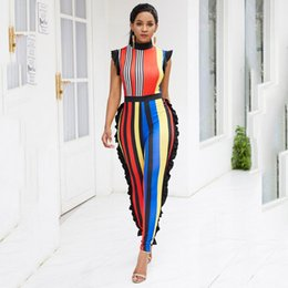 women african jumpsuit Promo Codes - Stripe Print Summer 2020 Long Jumpsuit Women Holiday Boho Trips Overalls Fashion Sleeveless Beach Rompers African Sexy Jumpsuits
