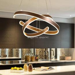 Moderne kreisdecke online-AC90-260V Moderne Pendelleuchten für Wohnzimmer Esszimmer Geometry Kreis Ringe Acryl-Aluminium-Gehäuse LED-Deckenleuchte Beleuchtung