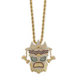 18 Karat Vergoldet Indischen Stil Maske Halsketten Mode Männer Frauen Multicolor Grade Qualität Zirkon Mikro Pflastern Anhänger Hip Hop Halsketten von Fabrikanten