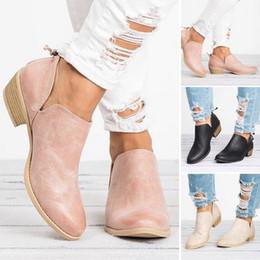 Botas de dedos cuadrados online-Venta caliente-Nuevo Otoño Mujer Botas Mujer Tacón Cuadrado Resbalón en las mujeres Zapatos de tacones altos Punta estrecha Casual Señoras Moda Zapatos Mujeres