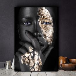 2019 pintando la casa del lago Negro africano y aceite de oro de la mujer Pintura Lienzo Cuadros carteles e impresiones escandinava Arte cuadro de la pared No Frame