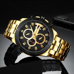 Argentina Reloj de cuarzo de la moda del hombre Seis agujas Calendario de medidor de cuarzo multifuncional Banda de acero Reloj de moda Cuatro colores Suministro