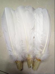 Plumas de plumas de pavo online-Plumas de pavo Plumas de pluma de pavo redondas blancas 10-12 pulgadas / 25-30 cm